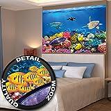 Poster Kinderzimmer Aquarium Wandbild Dekoration Unterwasserwelt Meeresbewohner Ozean Fische Delphin Schildkröte Korallenriff | Wandposter Fotoposter Bild Wandgestaltung by GREAT ART (140 x 100 cm)