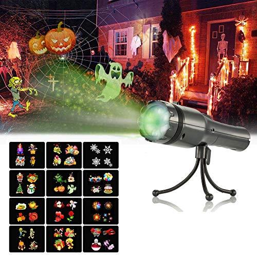 Taschenlampe Projektor Kinder, SENDOW LED Projektor Taschenlampe Kindertaschenlampe Projektionslampe mit 12 Dias und Stativ Dekorative Lichter Kinder Spielzeug für Halloween Weihnachten Geburtstag Party Abendessen