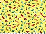 ab 1m: Kinderstoff, Baumwolle, Bonbons-2, gelb, 140cm breit
