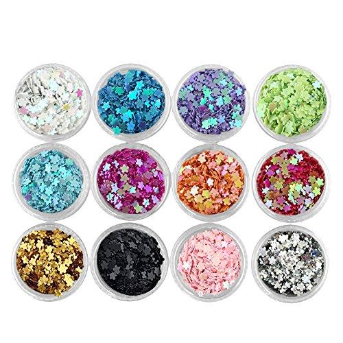 Vococal 12 couleurs Sequins DIY Nail Art Glitter Décoration 3D Manicure Tips DIY Décor