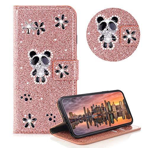 Glitzer Strass Brieftasche für iPhone XS,Rose Gold Leder Handyhülle für iPhone X,Moiky Luxus 3D Magnetisch Kristall Niedlich Panda Blumen Diamant Hülle mit Kartenfächer Ständer -