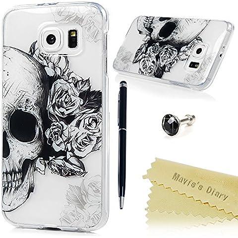 Samsung Galaxy S6 Funda Silicona Gel TPU Transparente Ultra Slim - Mavis's Diary Carcasa Case Bumper Shock-Absorción y Anti-Arañazos - Cráneo y Flor
