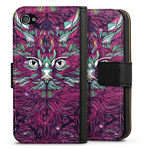 Apple iPhone X Silikon Hülle Case Schutzhülle Space Cat Katze Kitty Sideflip Tasche schwarz