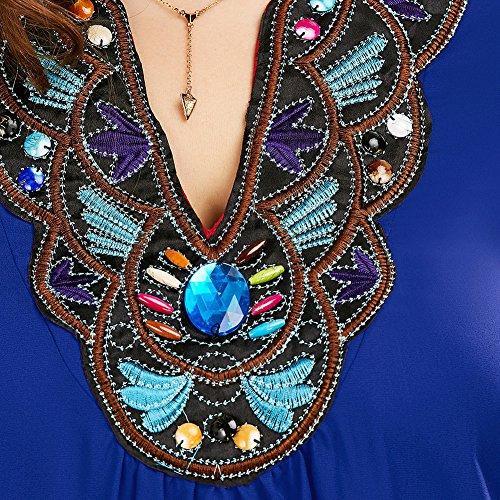 iBaste Plus Size Blusen Damen Lockere Shirt V-Ausschnitt 3/4 Arm Shirt Damen Oberteil mit Spitze Shirt Übergrößen Blau B