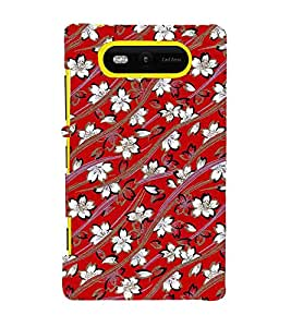 Fuson Designer Back Case Cover for Nokia Lumia 820 (Curve shaped design :: Red color background design :: White and red color flowers design :: Beautiful design :: Nice art design)