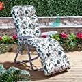 Garden Reclining Relaxer Chair - Silver Adjustable Multi Position Foldable Frame with Classic Cushion Choice of Prints - cheap UK light store.
