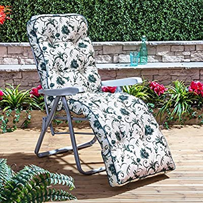 Garden Reclining Relaxer Chair - Silver Adjustable Multi Position Foldable Frame with Classic Cushion Choice of Prints produced by Alfresia - quick delivery from UK.