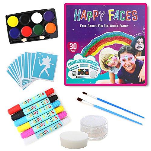 ULTIMATIVES SET AN KINDERSCHMINKE: 30 Teile, Inklusive 8 Gesichtsfarben / Körperfarben, 6 Farbstifte, 1 weißes Glitzergel, 12 Schablonen, 2 Pinsel & (Kostüm Zwei Face Mädchen)
