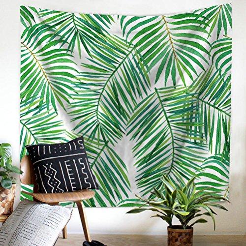 GuDoQi verde hojas tapiz tapiz decoración dormitorio poliéster para dormitorio playa hoja paño de tabla