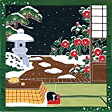 Kyoto Traditional Furoshiki (Japanese Wrapping Cloth) con un gatto Tama, kotatsu e neve Maeda Senko 88596