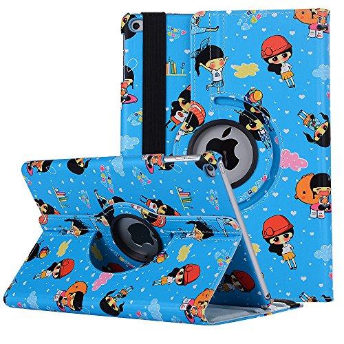 Neue iPad 2017 iPad 9.7 Hülle, elecfan 360 Grad Drehende PU Leder Nette Karikatur Intelligente Kasten Abdeckung für iPad Tablette mit Multi Funktions Schirm Schützendem Flip Folio Stand - Silikon-tabletten-kasten