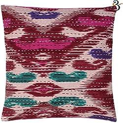 Indian Kantha algodón sofá cojín Set, hecho a mano Ikat Imprimir parche decoración para el hogar sofá funda de almohada de Vintage estilo Aakriti galería, Marrón, 41x41 cm