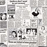 Tela blanca periódico costura bordar Timeless Treasures EEUU