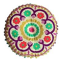 Bombay Duck Rond Tibet Coussin Brodé , Roses - Toile de Coton - Coussin Coussinet Inclus - Diamètre 40cm - Amovible Housse - Beau Haute Qualité Coussin Brodé [Méridienne]