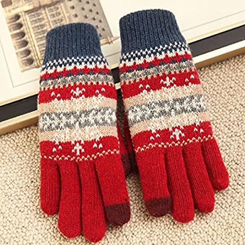 KHSKX Agregar cashmere depósito mitones de lana tibia copos de nieve de la pantalla táctil, guantes, guantes de lana para hombres y mujeres, par de guantes,Señoras