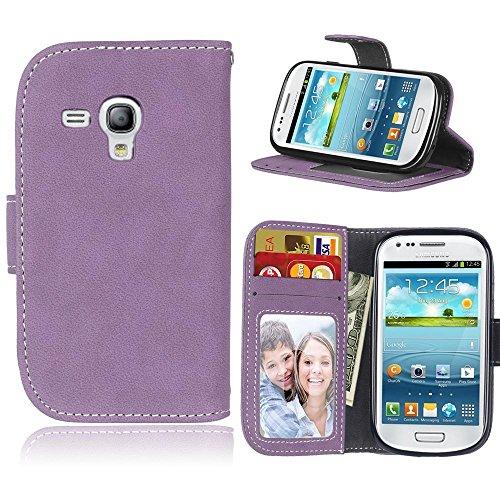 ni Hülle/S III Mini Hülle, [Lila][Retro Matt][PU-Leder]und[TPU] Brieftasche,Kartensteckplatz,Ständer,Bilderrahmen Hülle für Samsung I8190 Galaxy S III Mini(4.0