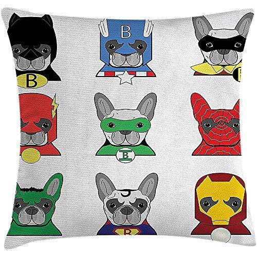 Made Kostüm Superheld Home - Yamiflu Superheld Dekokissen Kissenbezug, Bulldog Superhelden Spaß Cartoon Welpen in Verkleidung Kostüm Hunde mit Masken Print, Dekorative quadratische Akzent Kissenbezug, 45x45cm, Multicolor