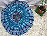 The Art Box - Housse de coussin de sol, Coton, bleu, Round Cushion Cover 32 Inch