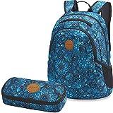 Dakine 2er SET Rucksack Schulrucksack Laptop 20l GARDEN + SCHOOL CASE Mäppchen Blue Magnolia