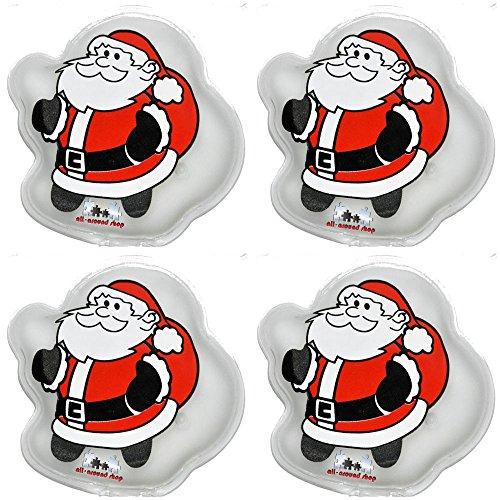 all-around24 4 Stück Handwärmer Santa Design,Heizpad Firebag - Fingerwärmer, Heizkissen, Heizpad Weihnachtsmann