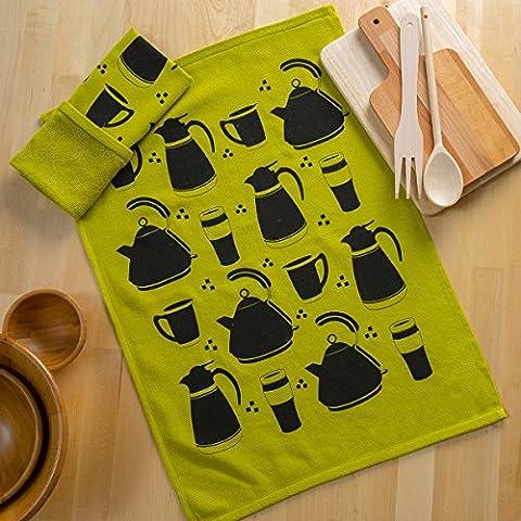 Sancarlos - Paño De Cocina Doble Cara Espresso Verde - 47X65 Cm - Muy Absorbente - Doble Cara Algodón+Sarga, 47X65 Cm