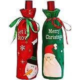 Coperchio della bottiglia di vino di Natale, 2pcs sacchetti della bottiglia di vino di Natale Borse Decorazione del tavolo da