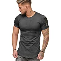 Remxi Men's Sports Short-Sleeve Tops - Loose-Fitting Casual T-Shirts Stretch Gym Training Breathable Tops, Classic…