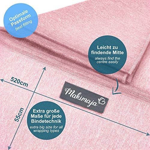Babytragetuch aus 100% Baumwolle - Rosa – hochwertiges Baby-Tragetuch für Neugeborene und Babys bis 15 kg – inkl. Aufbewahrungsbeutel und GRATIS Baby-Lätzchen – liebevolles Design von Makimaja® - 6