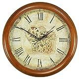 Style pays simpleSalon créatif européen solide bois européen muet horloge chambre chambre fashion américain chinois rétro table horloge murale 14 pouces (diamètre 35 5 cm) couleur marron