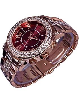 Excellanc Uhr Damenuhr Armbanduhr Bordeaux Rot Rosegold Farben 152535000025 R10