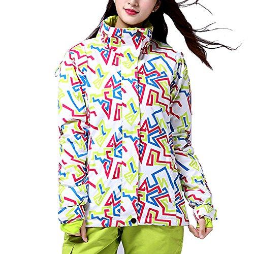 iPretty Skianzug Damen Regenjacke Skijacke mit kapuze Schneeanzug Skihose Softshell Jacke damen wasserdicht atmungsaktiv Snowboardhose-Grün(Jacke)-2XL