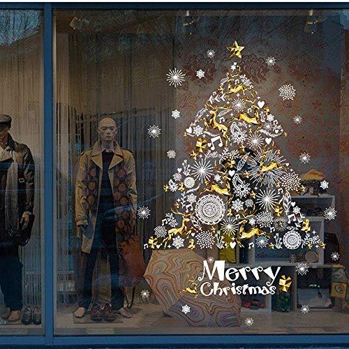 Weihnachten Wandaufkleber,3D Fensteraufkleber Weihnachtsbaum Wandtattoo Wasserdicht Wandsticker Schneeflocke Abziehbilder weiß Fenstersticker Selbstklebend Dekoration (90x60cm, Mehrfarbig)