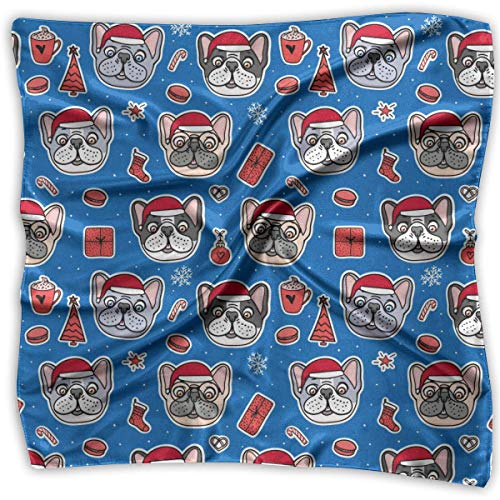 French Bulldogs (3) Pattern Square Scarf - Women's Various Design Neck Scarf 100% Polyester White White French Hut