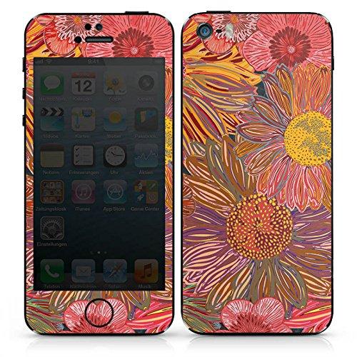 Apple iPhone SE Case Skin Sticker aus Vinyl-Folie Aufkleber Sonnenblume Rot Muster DesignSkins® glänzend