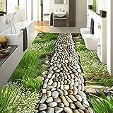 Hwhz Fleur Herbe Pavé Style Pastoral 3D Revêtement De Sol Pvc Étanche Peinture Peinture Murale Personnalisé Photo 3D Murales Murales Papier Peint-350X611Cm