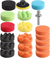 TOYMYTOY Compound Drill Buffing Sponge Pads Kit for Car Sanding Polishing Waxing Sealing Glaze - 19PCS