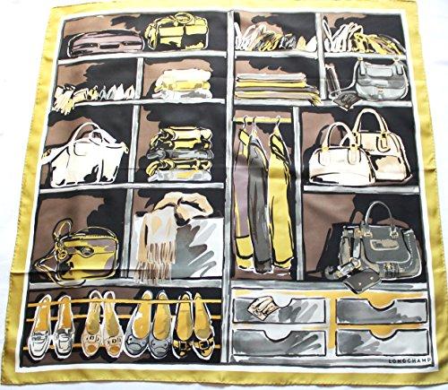 grunes-longchamp-seidentuch-89-x-89cm-schrank-schal-foulard-seide-carre-scarve