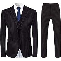 Mens 3 Piece Suit Slim Fit Pinstripe Formal Suits Notch Lapel Dress Blazer Waistcoat Trousers