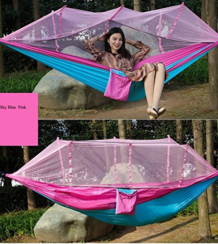 WEIXY Double parachute camping hammock, color couple/camping hiking hammock mosquito net outdoor nylon fabric lightweight/double beach backyard (Pink mosaic light blue)