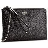 BORSETTA DONNA GUESS FALL IN LOVE MINI CLUTCH TRACOLLA GLITTER NERO