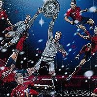 FC Bayern München Adventskalender XXL mit Autogrammkarten der FCB Stars, 25 x Schokoladen Täfelchen, Gutschein und 5 gratis Aufkleber forever Bayern