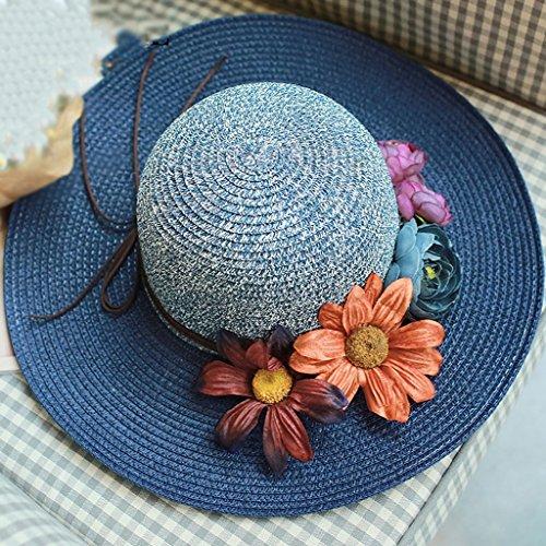 chapeau de soleil Beach Beach Chapeau de soleil chaude foldable femme Vested Breathable Beach Cap ( Couleur : Rose ) Marine