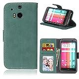 SATURCASE HTC One M8 Hülle, Retro Mattiert PU Leder Flip Magnetverschluss Brieftasche Standfunktion Kartenschlitze Schützend Tasche Hülle Schutzhülle Handycover für HTC One M8 (Grün)