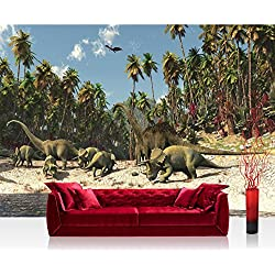 Papel Pintado Fotográfico Premium Plus fotográfico pintado–cuadro de pared–Dinosaurio–Papel pintado infantil palmera en la playa animación verde–No. 447, mehrfarbig, grün, Fototapete 254x184cm | PREMIUM Blue Back