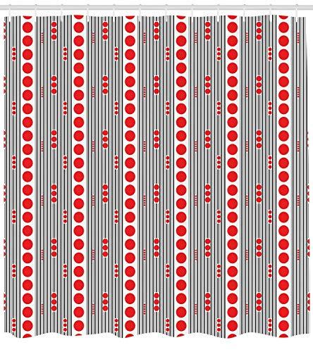 vorhang, Vertical Black Stripes and Big and Small Circles Minimal Lattice Grid, Cloth Fabric Bathroom Decor Set with Hooks, 60 x 72Inch Long, Vermilion Black White ()