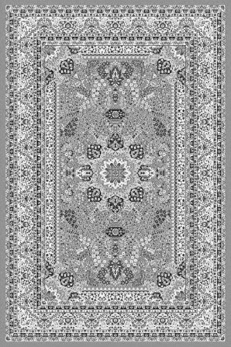 Fabelia Orient Teppich Kollektion Marrakesh - Orientalisch-europäische Designs/klassisch und modern (160 x 230 cm, Casablanca/Grau 0207) - Berber-traditionelle Teppich