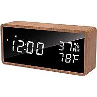 Réveil Numérique, Meross Réveil Électronique en Bois Pur avec 3 Réglages d'Alarme, Horloge Numérique Alimenté par USB…