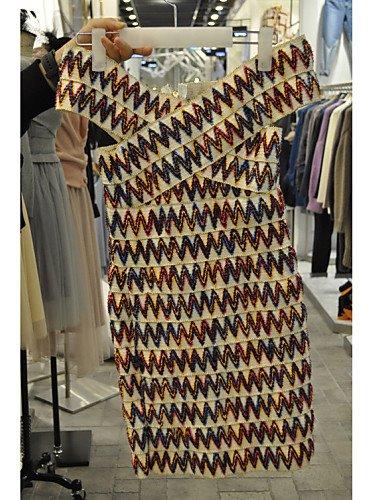 PU&PU Robe Aux femmes Gaine Sexy,Imprimé A Bretelles Au dessus du genou Polyester MULTICOLOR-ONESIZE
