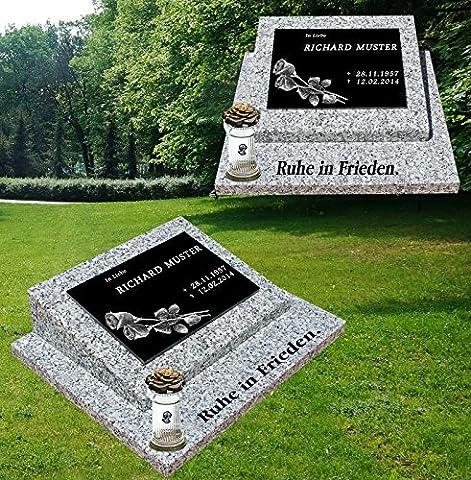 Urnengrabstein Nr. 3, Grabstein Grabmal, Grabplatte inkl. Inschrift, Motiv mit