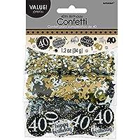 Amscan 1.2oz Gold Sparkling 40th Birthday Confetti